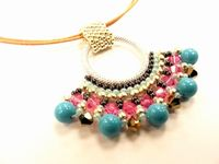 Fan Pendant Beadwork Necklace Jewellery Making Kit with SWAROVSKI® ELEMENTS Summer tones